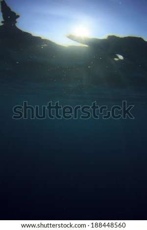 Blue Underwater Ocean Background - stock photo