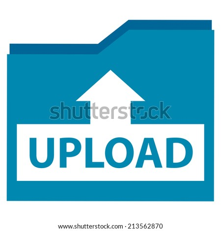 Blue Upload Document Icon, Sign or Button Isolated on White Background  - stock photo