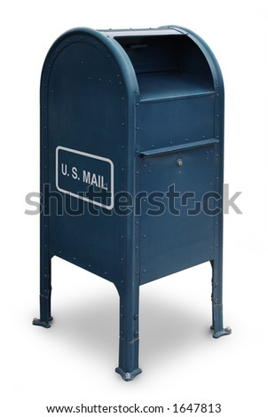 blue US mailbox on white background - stock photo