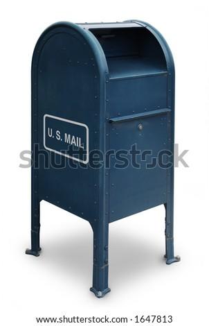 blue US mailbox on white background - stock photo