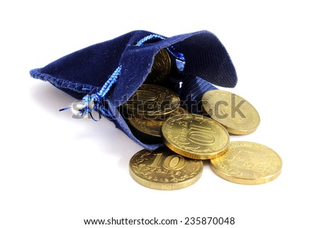 Blue velvet bag with a ten Russian coins - stock photo