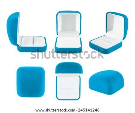 Blue velvet box for the ring, isolated over the white background, set of six foreshortenings - stock photo