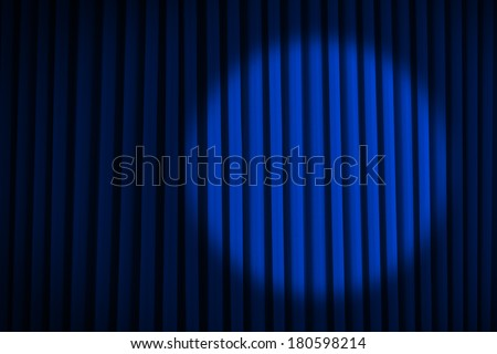 Blue Velvet Movie Curtains with Round Spotlight. - stock photo