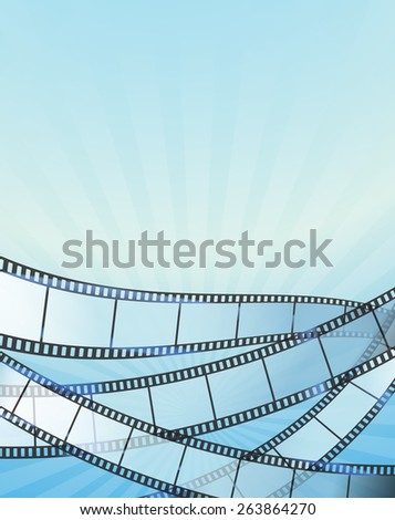blue vertical background with retro filmstrip. raster version - stock photo