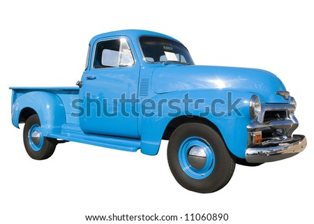 Blue vintage car at car show; isolated, clipping path included