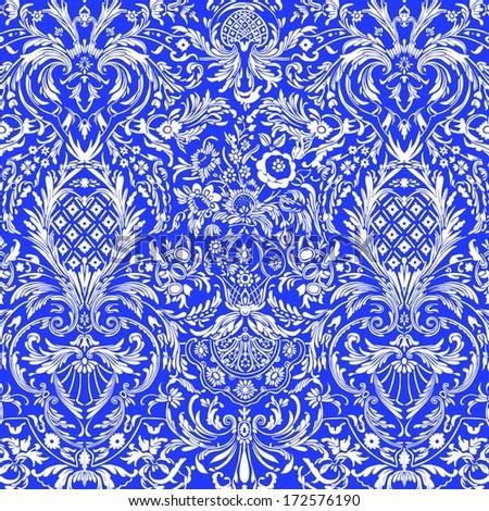 Blue Vintage Detailed Lace Damask Pattern - stock photo