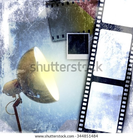 Blue vintage film strip background and led reflector - stock photo