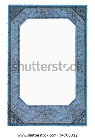 Blue vintage frame, isolated on white