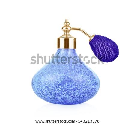 Blue vintage perfume bottle with atomizer isolated on white background. - stock photo