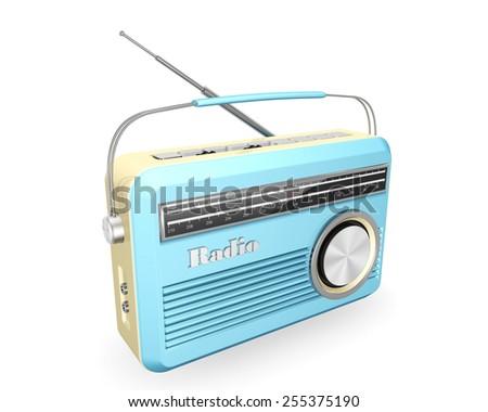 blue vintage retro  radio  isolated on white background - stock photo