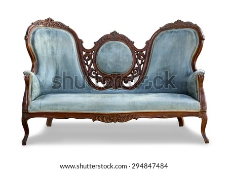 blue vintage sofa on white background with clipping path