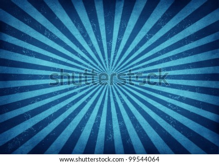 Blue vintage star burst design as a retro grunge radial sun beam antique background with old paper texture of blue streaks radiating from the center as a symbol of energy on ancient parchment paper. - stock photo