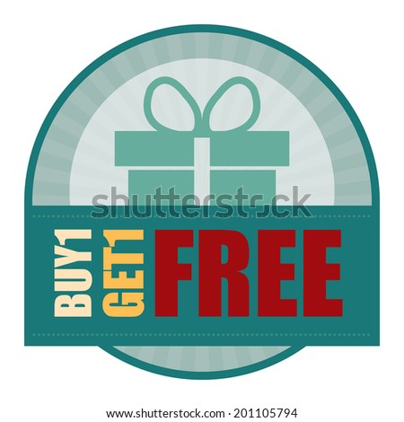 Blue Vintage Style Buy1 Get1 Free Icon, Label or Sticker Isolated on White Background - stock photo
