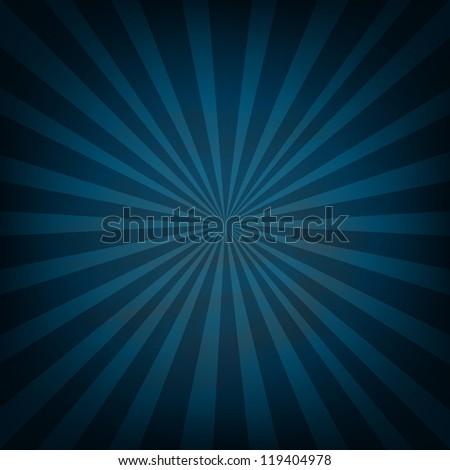 Blue Vintage Sunburst - stock photo
