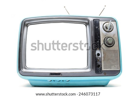 Blue Vintage TV on the isolated white background