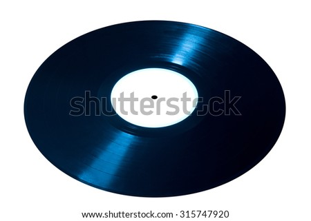 Blue vinyl disk isolated on white background - stock photo