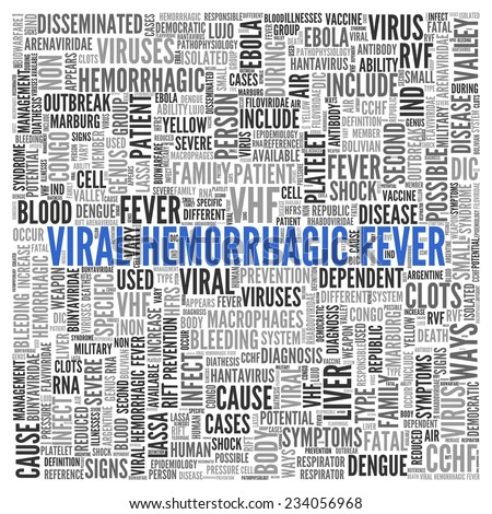 Blue Viral Hemorrhagic Fever Texts and Related Keywords in Gray in Simple Word Tag Cloud Design on White Background.