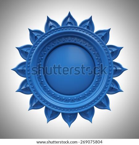 blue Visuddha throat chakra base, 3d abstract symbol, isolated color design element - stock photo