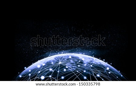 Blue vivid image of globe. Globalization concept. Elements of this image are furnished by NASA