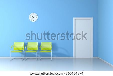 Blue waiting room - stock photo