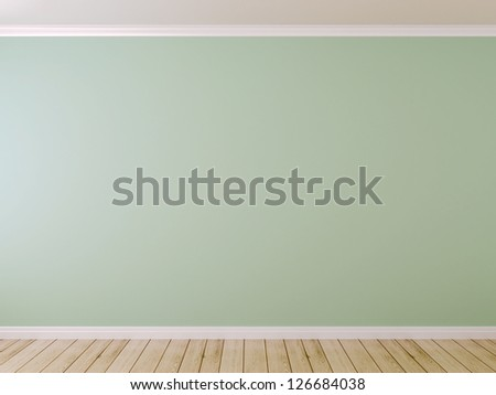 Blue wall and light parquet can be used as background - stock photo