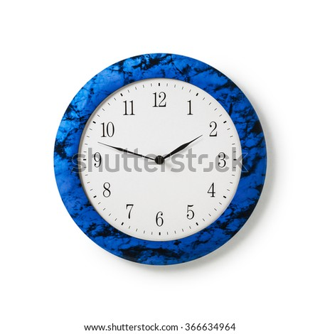 Blue wall clock isolated on white background. Design element. Single object with clipping path