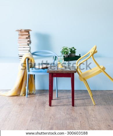blue wall interior concept and modern chair