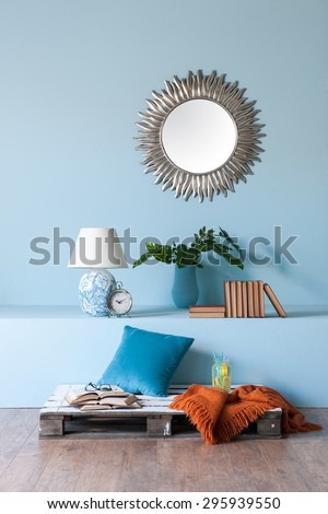 blue wall  modern interior style  - stock photo