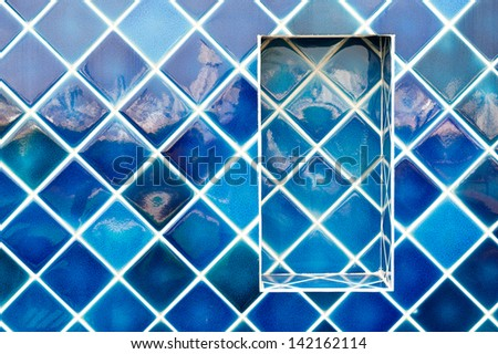 Blue wall tiles - stock photo