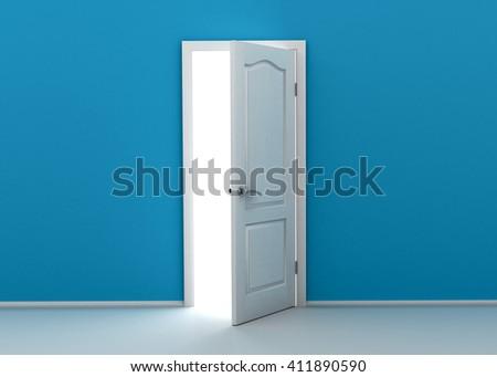 blue wall with opened door. 3D rendering - stock photo