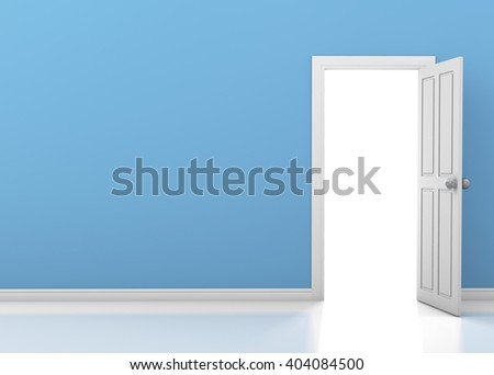 blue wall with opened white door interior 3d rendering - stock photo