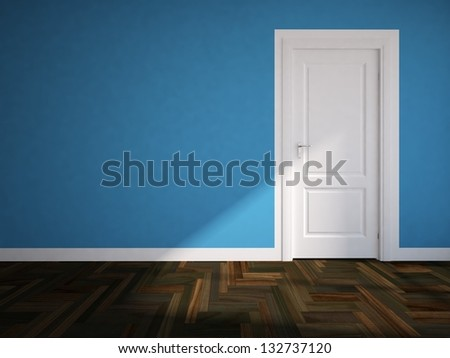Blue wall with white door - stock photo