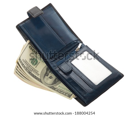 Blue wallet isolated on white background - stock photo