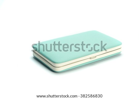 Blue wallet isolated white background.