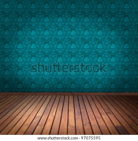 blue wallpaper room - stock photo