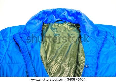 blue warm light weight  insulated  jacket on white background. - stock photo