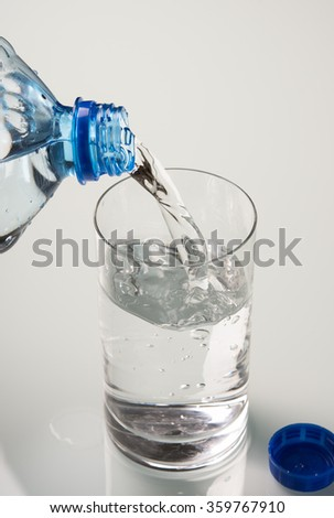 blue water and bottle