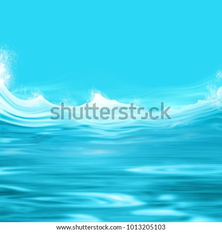 Blue water background illustration with ocean waves