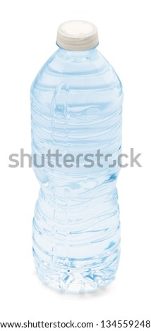 Blue water bottle isolated on a white background. - stock photo