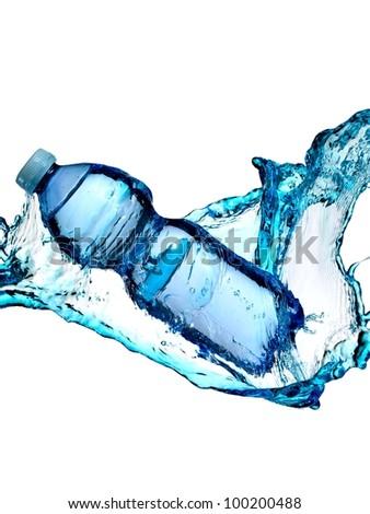 Blue water bottle splash - stock photo