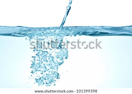 blue water bubbles abstract background - stock photo