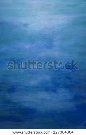 Blue Water Color Paint Texture. Abstract Painting Background - stock photo