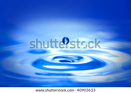 Blue water drop and splash.