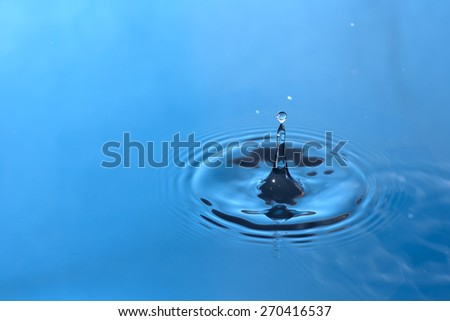 blue water drop and splash for background