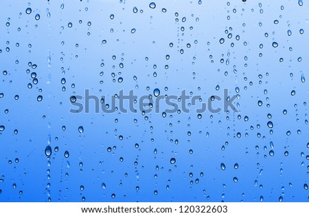Blue water drop background. Raindrops on window glass.