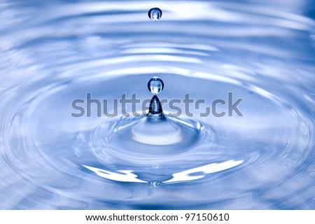 blue water drop closeup - stock photo