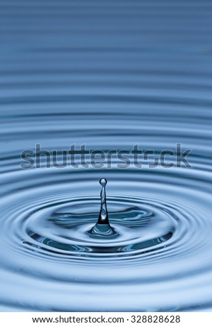 Blue water drop falling