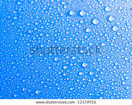 Blue water drops background texture - stock photo