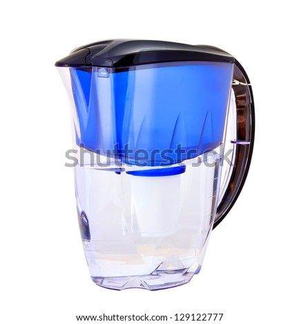 blue water filter on a white background