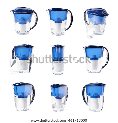 Blue water filter pitcher isolated over the white background, set of nine different foreshortenings